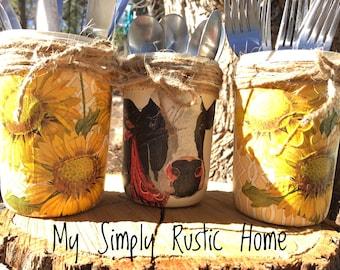 Mason Jar Cow Sunflower Desk Set-Utensil Holder-Cow Sunflower Mason Jar -BBQ Jars-Mason Jar Office Set-Office-Farmhouse Decor-Nursery Set