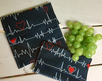 Electrocardiogram DUO snack and sandwich bag's flap, waterproof, washable and reusable