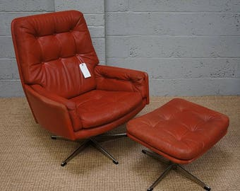Vintage Danish Red Leather Swivel Chair U0026 Stool