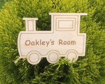 Train Bedroom Birch Wood Child's Bedroom Sign, Personalised Bedroom Sign