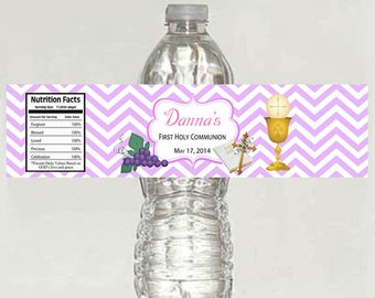 Printable girl First Communion Personalized Water Bottle Labels