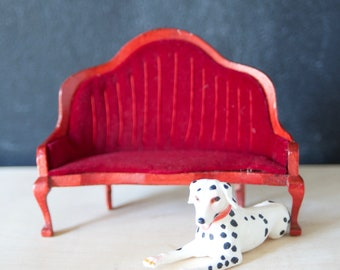 Dollhouse velvet settee with Dalmation dog