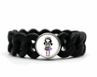 Bracelet silicone black doll Hat