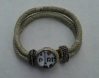 chunk paris beige leather bracelet