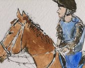 Horse ORIGINAL Miniature Watercolour painting 'Waiting for friends'  ACEO For him, For her, Home Decor, Wall Art Gift Idea, Free Shipping
