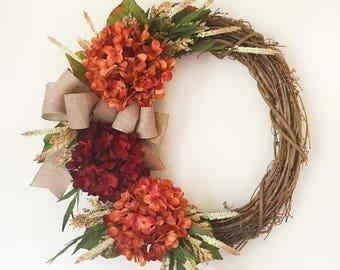 Fall Wreath, Fall Decor, Fall Wreaths, Orange Hydrangea Wreath, Autumn Wreath, Farmhouse Wreath, Thanksgiving Wreath, Wreath for Front Door