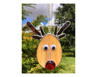 Stained Glass Reindeer Christmas Decoration, Christmas Tree Decoration