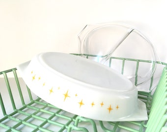 Vintage pyrex Constellation yellow vintage starburst mid century Pyrex with lid vintage decor vintage kitchenware  vintage ovenware