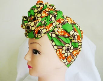 Orange and Green Floral Print Ankara Head Wrap, DIY head tie, Stylish African head scarf, Fabric hair accessory – Made to Order