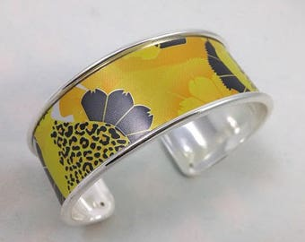 Cuff Bracelet yellow and black recycled bobbin