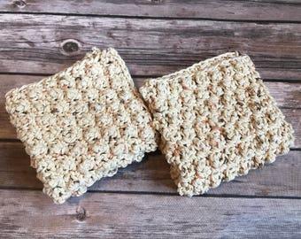 "Textured Crochet Dishcloth, Crochet Washcloth, Handmade Dishcloth Set of 2-9""x9"", Beige Cotton Dishcloth, Cotton Washcloth, Dish Cloth"