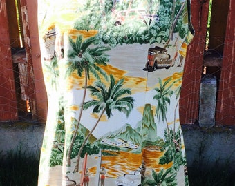 Late 80s Shannon Marie Palm Hawaiian Palm Print Dress Size XL