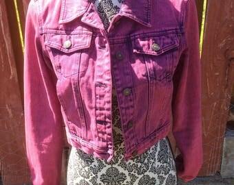Vintage 90s Purple Jeanology Collection Denim Crop Jacket Size 6 Small