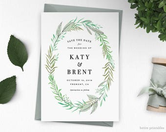 Greenery Save The Date Printable   Leaves Wreath Invitation   Personalized Save The Date   Rustic Wedding Invitation Minimal   DIGITAL FILE