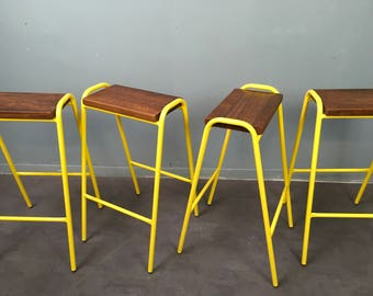 Stools Vintage Retro Industrial School Stacking Science Lab Cafe Bar Kitchen  Stools NEW YELLOW