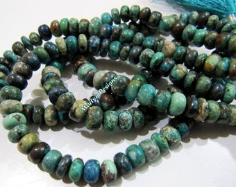 AAA Quality Natural Chrysocolla Beads , Rondelle Plain Beads 7-8mm , Sold per Strand of 8 Inches Long , Finest Quality Unique Gemstone.