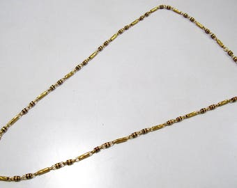 Indian Handmade Chain Meena Work , Gold Necklace Jewelry 28 inches Long , Metal Fashion Jewelry , Traditional Indian Necklace Chain.