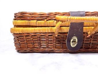Vintage Wicker Picnic Basket, Vintage Wicker Basket, Vintage Picnic Basket, Dark Wicker Basket, Vintage Outdoor Basket, Rustic Decor