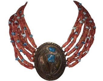 Massive Navajo Native American Sponge Red Coral Bead Turquoise Nugget Necklace