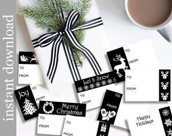 Printable Gift Tags, Christmas Gift Tags, gift tag download, holiday gift tags, black and white tags, black Christmas wrap, diy gift tags