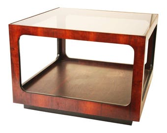 Mid Century Modern Lane SQUARE SIDE TABLE Glass Top Wood End Vintage Side  Drum 50s 60s