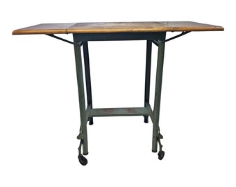 Vintage INDUSTRIAL TYPEWRITER TABLE Wood Top drop leaf metal mid century green plant stand steampunk loft stand architectural salvage double