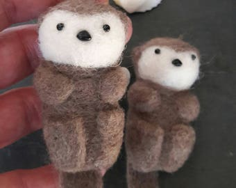 Little needle felted brown grey sea otter keepsake desk buddy small Valentine gift