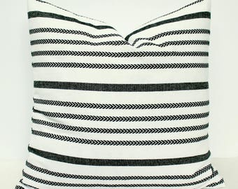 Black & White Striped Pillow Cover