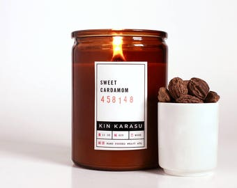 Sweet Cardamom scented candle   100% soy wax candle with wood wick