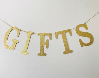 GIFTS Gold Glitter Banner- Gifts Wedding Sign- Wedding Decoration- Gifts Wedding Banner- Wedding Reception Banner- Gold Gifts Sign