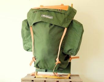 Vintage Bergans Of Norway Metal External Frame Backpack Green - Hiking - Fishing - Bushcraft - Outdoor