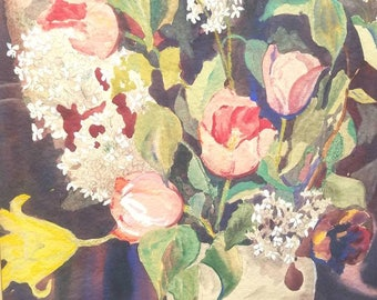 Vintage Antique watercolor flowers french country louise douthitt