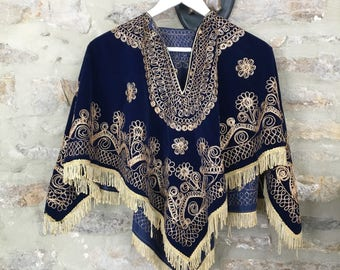 Strangers In The Night' Vintage Midnight Blue Velvet Gold Embroidered Cape Poncho 70s Psych Mystic Afghan One Size
