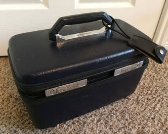 Vintage Train Case, Samsonite Sentry ll, Dark Blue Makeup Travel Case