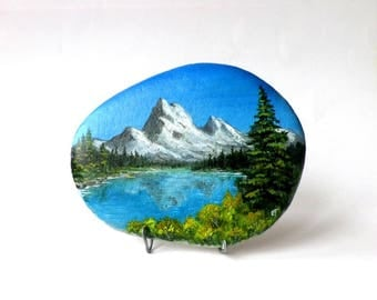 Painting on Pebble, mountain and Lake