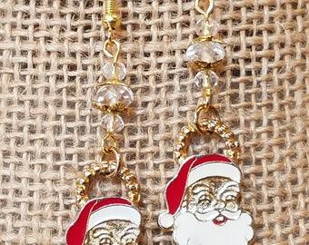 vintage Santa Claus Charm Earrings, Santa Earrings, Santa charm, Santa Claus, Earrings, Christmas Earrings