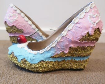Pink and Blue Ombre sponge cake shoes