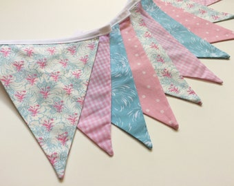 Baby Bunting, Pink and Blue Bunting, Baby Shower Banner, Nursery Bunting, Fabric Bunting, Baby Girl Bunting, Bridal Shower Bunting