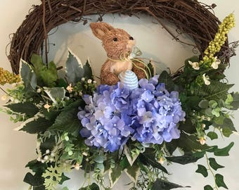 Oblong Gapevine Wreath with Bunny and Blue Hydrangeas