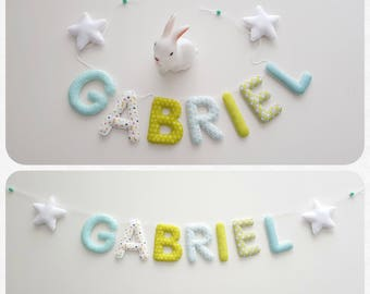 Garland name 7 letters fabric and felt, wall decor for kids room, fabric letters, name, custom Garland