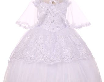 tunning baptism dress with intricate organza material