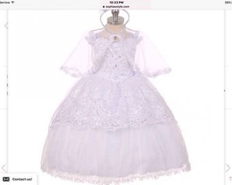 A stunning Christening gown for your precious girl Hi-Lowsher cape baptize dresse2-6