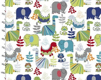 Kids dinosaur print cotton quilting and patchwork fabric for Grey dinosaur fabric