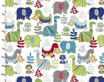 Mikko Dinosaur Toss Dinoroar Flannel by Fabric Editions by the Yard