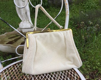 Vintage 1950's / 1960's Cream Beaded Handbag