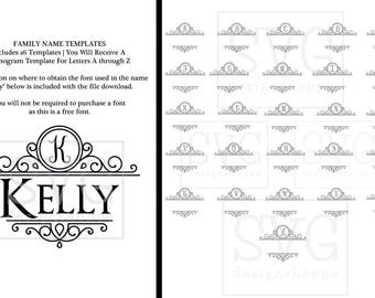 Family Name Template for Silhouette Cameo and Cricut Design Space SVG Fonts Scrapbooking Stencil Template Diecuts Expression SVG for Cricut
