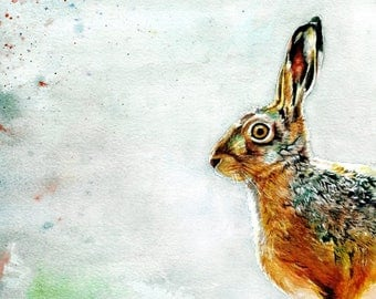Limited Edition A3 Watercolour Hare Print