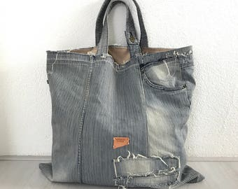 Striped denim tote bag, repurposed tote bag