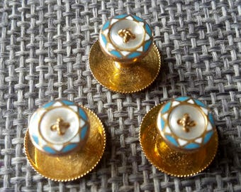 A boxed set of antique 9 ct gold and enamel studs buttons
