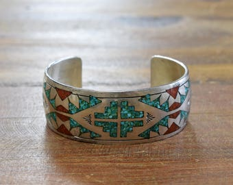 Vintage Navajo Sterling Silver Turquoise And Coral Chip Inlay Cuff Bracelet By Charlie Singer